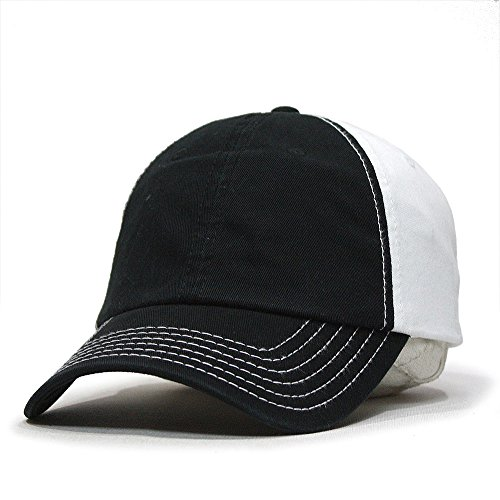 Classic Washed Cotton Twill Low Profile Adjustable Baseball Cap (Black/Black/White)