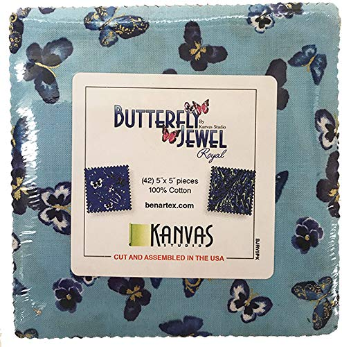Kanvas Studio Butterfly Jewel Royal 5X5 Pack 42 5-inch Squares Charm Pack Benartex