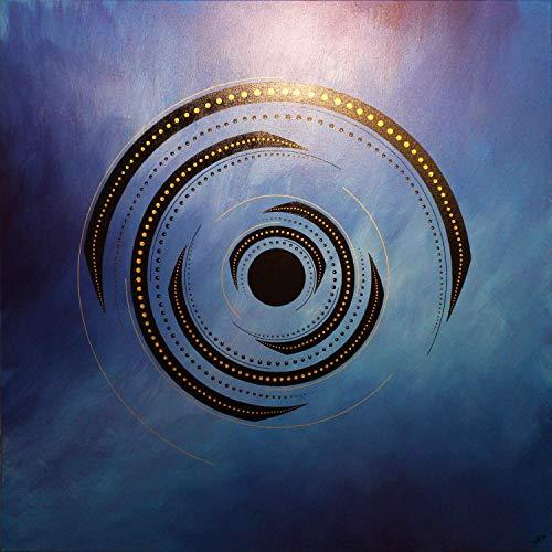 (Contemporary painting : Blue rotation (80 x 80 cm))