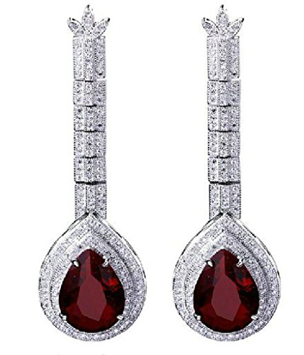 (Beydodo White Alloy Gold Plated Women's Drop-earrings Vintage Handle Mirror Shape CZ Crystal Drill Red)