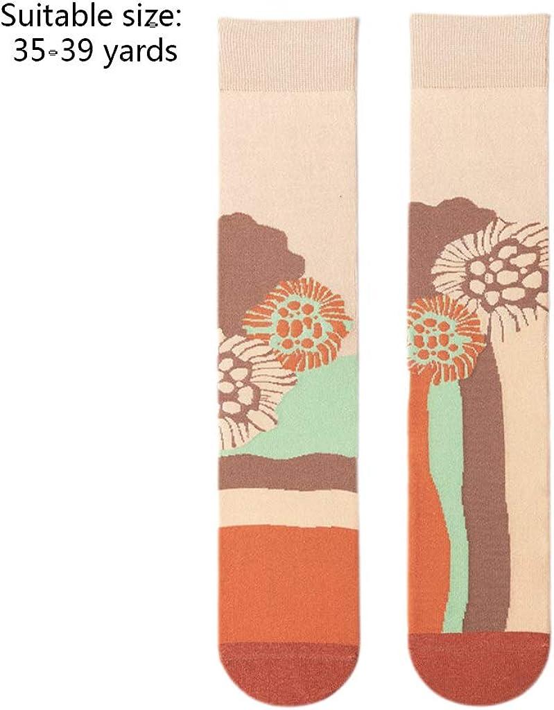 A0127 1 Paar Frauen M/ädchen Herbst Winter Lang Socken Helle Candy Farbe Weiche Warme Baumwolle Asymmetrie Muster Str/ümpfe