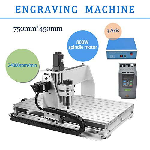 3 AXIS 800W 6040 Desktop CNC Router 3D Engraving Drilling Milling Machine 110V with 1605 Ball Screw and 1.5KW VFD by Taishi