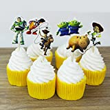 Brockhill Trading 12 x Toy Story Woody Buzz Cake Pick Cupcake Toppers Flags Kids Birthday Party