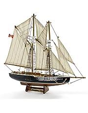 "Seaside Deco Bluenose Model Ship 15"" L 14"" H (Natural) Handmade with Natural Wood"