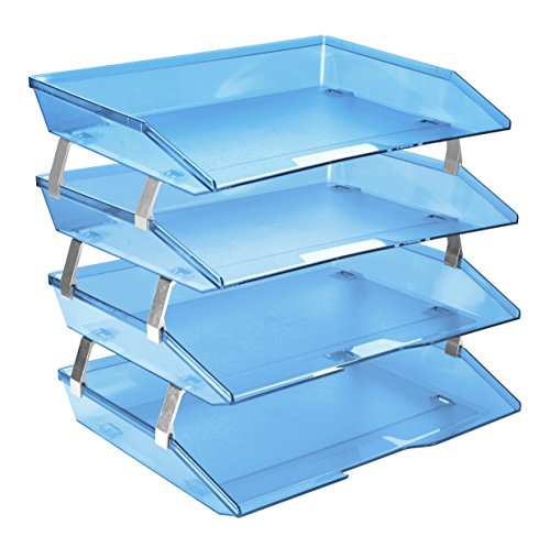 Acrimet Facility 4 Tier Letter Tray Plastic Desktop File Organizer (Clear Blue Color) ()