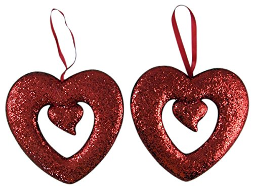 Valentines Day Red Glitter Heart Hanging Decoration, 8 Inch, Set of 2