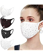 4PCS Fashion Face ṁɑѕḱѕ for Women, Breathable & Reusable, Cloth Coverings, DustProof Washable Mouth Coverings, Anti-Haze Dust Face Shield, Crystal Rhinestone Sequins Face ṁɑѕḱ