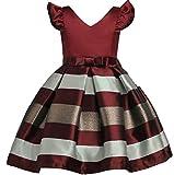 M&S&W Little Girl Lovely Stripe A-Line V-Neck Party Dresses Wine Red 6T