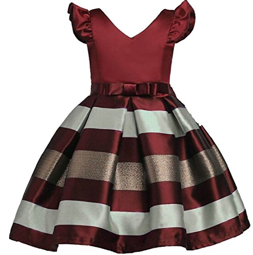 M&S&W Little Girl Lovely Stripe A-Line V-Neck Party Dresses Wine Red 6T by M&S&W