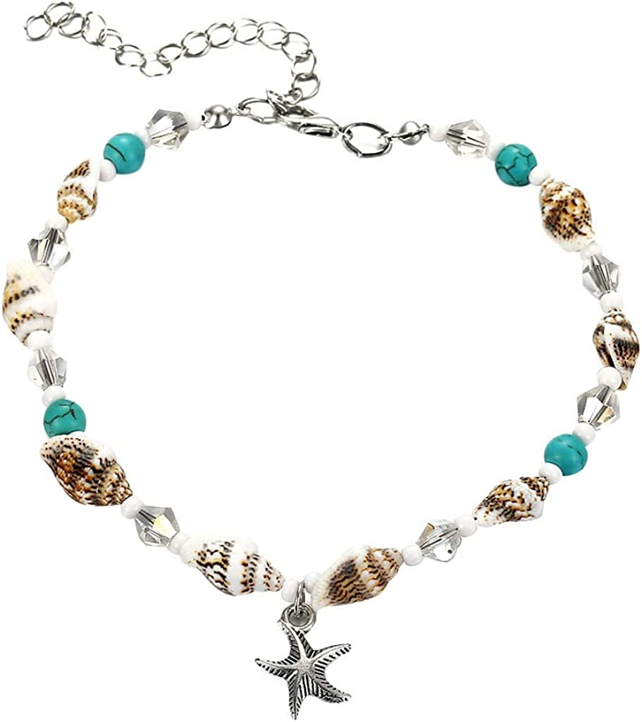 BOHO Anklet Silver Gold Charm Ankle Chain Turquoise Beads Bracelet Foot Sandal