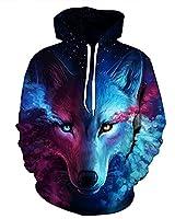 Ruanyu Casual Hip Hop 3D Galaxy Wolf Hoodies Sweatshirt Unisex Pullovers