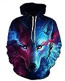 Ruanyu Casual Hip Hop 3D Galaxy Wolf Hoodies Sweatshirt Unisex Pullovers (X-Large, Blue)