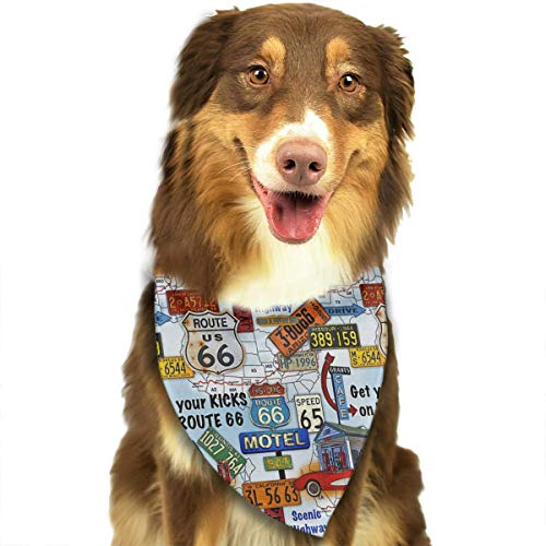(FRTSFLEE Dog Bandana Route 66 Scarves Accessories Decoration for Pet Cats and)
