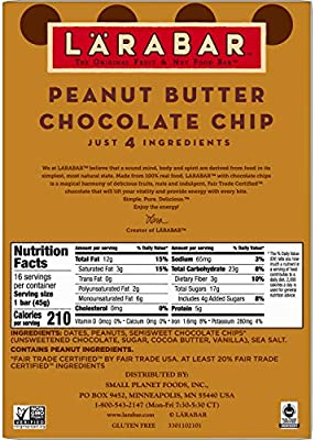 LÄRABAR Larabar Gluten Free Bar, Peanut Butter Chocolate Chip, 1.6 oz Bars (16 Count)