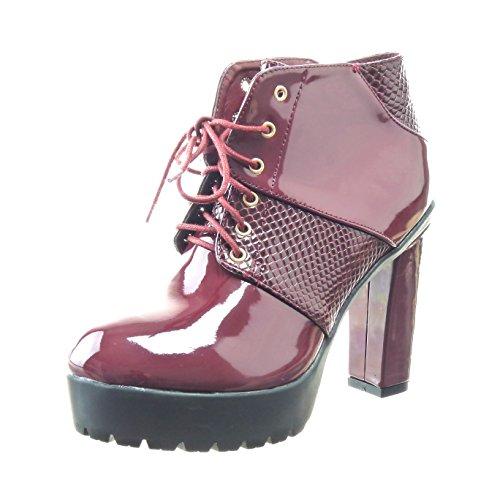Sopily - damen Mode Schuhe Stiefeletten Biker Plateauschuhe glänzende Schlangenhaut - Rot
