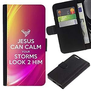 EJOY---La carpeta del tirón la caja de cuero de alta calidad de la PU Caso protector / Apple Iphone 6 PLUS 5.5 / --BIBLIA Jesús puede calmar sus Tormentas