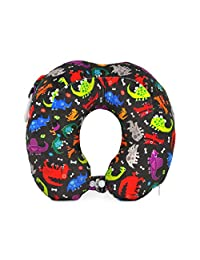 Hugger High Density Memory Form Neck Travel Pillow for Kids Children (dinos)