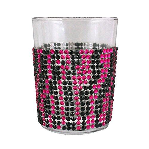Bling Oversized Shot Glass with Animal Zebra Print Design, 4-Ounce, Pink/Black