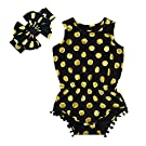 Anbaby Gilrs Bronzing Dot Romper Climbing Clothes With A Bow Headband Black 6-12Months