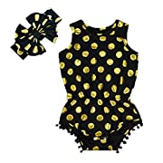 Anbaby Gilrs Bronzing Dot Romper Climbing Clothes with A Bow Headband Black 0-6Months