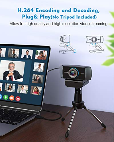 Full HD Webcam 1080P,Streaming Camera,Webcam with Microphone,Wide Angle USB Computer Camera with Facial-Enhancement Technology,Web Cam for Desktop Laptop PC Mac,Video Conferencing Skype YouTube
