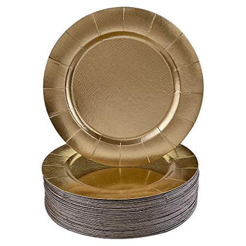 DISPOSABLE ROUND CHARGER PLATES - 120pc (Gold) ()