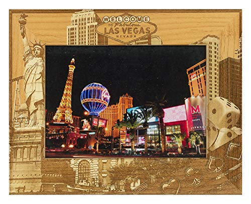 Las Vegas Wood - Welcome to Fabulous Las Vegas Nevada Laser Engraved Wood Picture Frame (5 x 7)