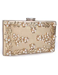Womens Floral Pearl Beaded Evening Handbags Party Clutch Bridal Purse Golden
