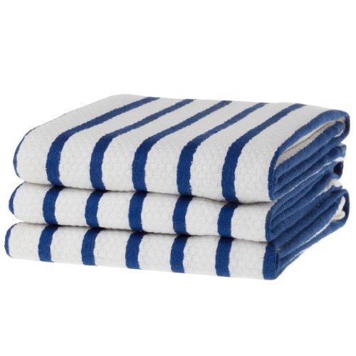(KAF Home Basket Weave Kitchen Towels, White with Royal Blue Stripes, Set of 3, 100% Cotton, Over-Sized & Super Absorbent )