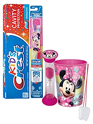 "Disney ""Minnie Mouse"" Inspired 4pc Bright Smile Oral Hygiene Set! Soft Manual Toothbrush, Toothpaste, Brushing Timer & Mouthwash Rinse Cup! Plus Bonus ""Remember to Brush"" Visual Aid!"