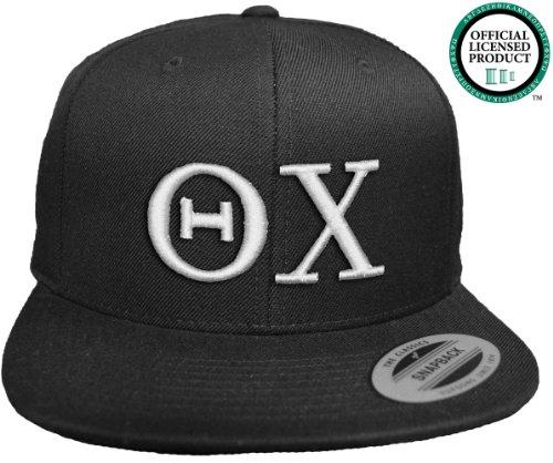 THETA CHI Flat Brim Snapback Hat White Letters / OX Frat | Fraternity Cap