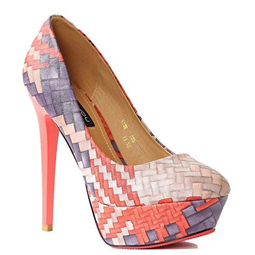 KHSKX-Single Shoe Heel Kick Round Head 13Cm Super High Heels Waterproof Table Women'S Feet Orange Shoes Thirty-four wbljn