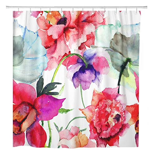 ArtSocket Shower Curtain Pattern Beautiful Peony Flowers Watercolor Painting Floral Spring Vintage Home Bathroom Decor Polyester Fabric Waterproof 72 x 72 Inches Set with Hooks