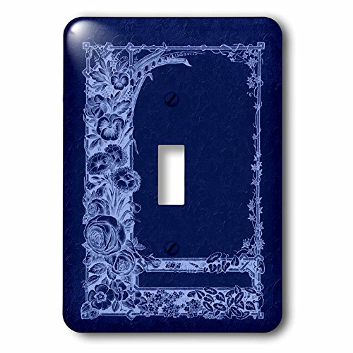 3dRose lsp_54083_1 Monotone floral trellis design in negative on a cobalt blue damask background Toggle Switch