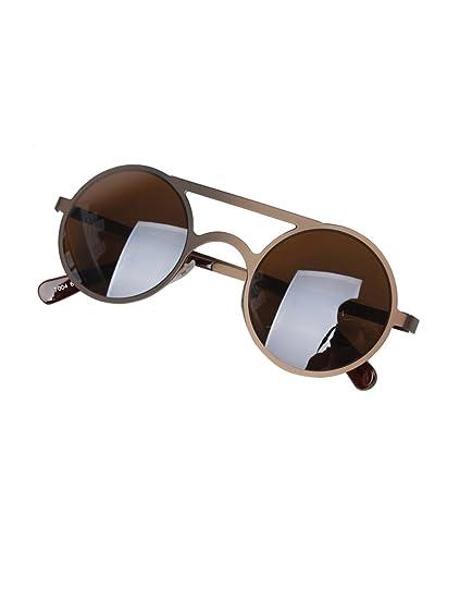 Nuevas gafas de sol reflectoras redondas de doble haz Metal ...