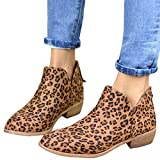 Athlefit Women's Casual Ankle Booties Cut Out Slip On Low Heel Short Boots Ankle Heel Leopard Size EU38