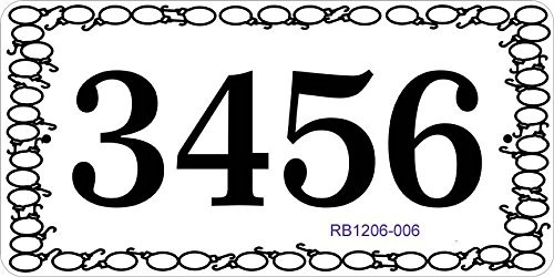 Address Plaque with Decorative Hook & Loop Border - Address Sign Displays Your House Number Up To 4 Digits - Choose Color: Black, White, Blue, Brushed Gold, Brushed Stainless, Yellow, Red, and Green by Comfort House