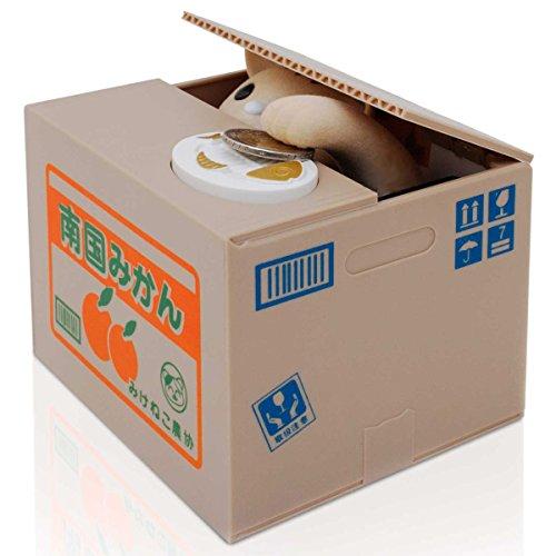 Katze in der Kiste Münzen Euro Spardose elektronische Pfötchen Itazura Sparbüchse Sparschwein