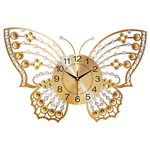 - LANGSHI Home Decoration Butterfly Wall Clock Crystal Luxury Living Room Clock Creative Personality Art Decoration Wall Clock Large,A