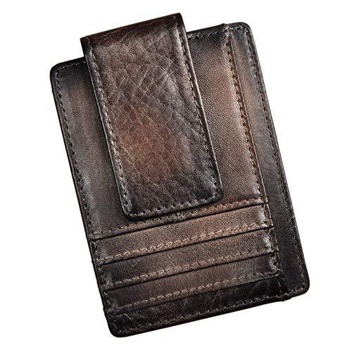 Le'aokuu Genuine Leather Rfid Magnet Money Clip Credit Card Case Holder Slim Wallet (E Brown Rfid)