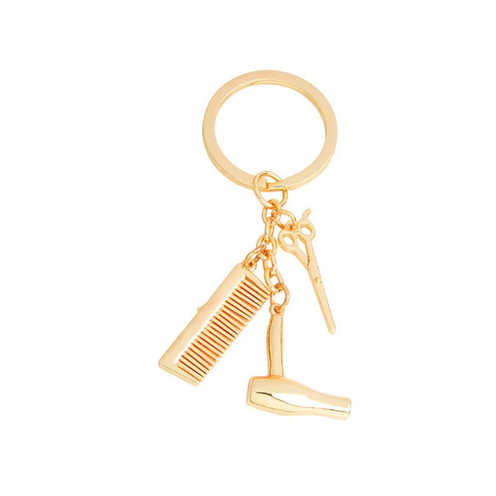 MICHAELA BLAKE Creativa Keychain 3 in 1 Parrucchiere Asciugacapelli Scissor Pendente del Pettine Keychain di Fascino Sveglio della Borsa Borsa del Pendente di Fascino Portachiavi Silver