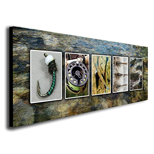 Fishing Fly Art (Personalized Fly Fishing Name Art - Perfect for The Fly Fisher, Man cave, Office, or Boys Room! (Block Mount - 9.5 x 26))