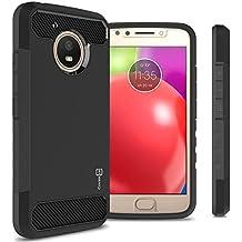 Moto E4 Case, CoverON Arc Series Modern Hybrid Phone Cover with Carbon Fiber Styling and Matte Finish for Motorola Moto E4/Moto E 4th Generation (2017 US Version) - Black