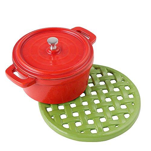 (Round Cast Iron Trivet Green Teapot Trivets Mat Metal Trivets for Kitchen Dining)