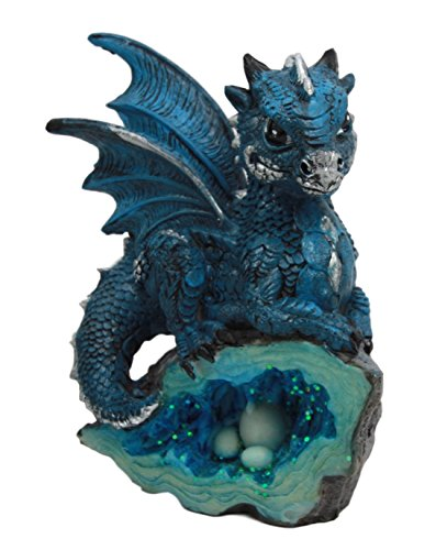 "Atlantic Collectibles Adorable Quartzite Blue Baby Dragon On Fossil Cove Figurine 5""H"