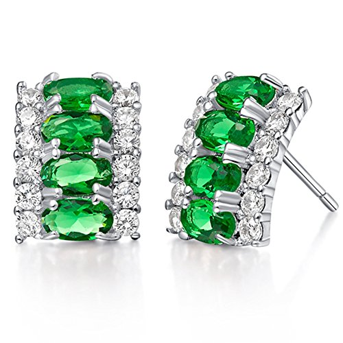 FENDINA 18K White Gold Plated Rectangle Shaped Studs Earrings Birthstone Oval Cubic Zirconia Paved Earrings for Women Hypoallergenic 9 - Tory Birth