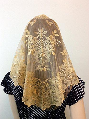 Beige Gold Veils and mantillas Lace spanish style Catholic Church Chapel Latin Mass large