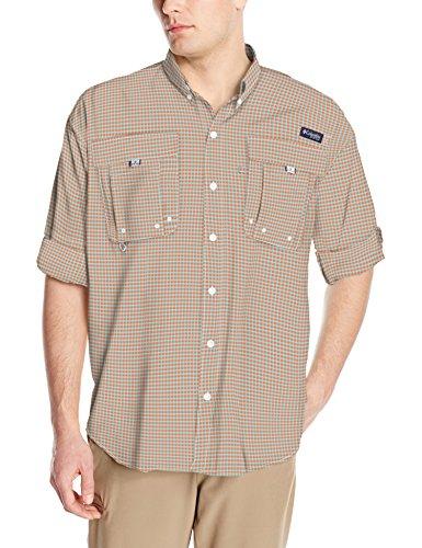 Columbia Mens Super Bahama Long Sleeve Shirt, Island Orange Mini Check, Large