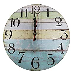 Colored Wooden Wall Clock Vintage Rustic No Ticking Decorative Round Wall Clock for Kitchen Office Bedroom by Kaimao - Style B