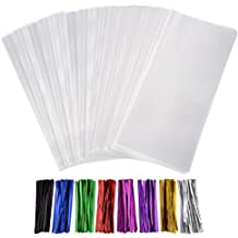 Outus 300 Pack Clear Treat Bags Clear Cello Bags with 320 Pieces Twist Ties 8 Colors for Wedding Cookie Gift Candy Buffet Supply Valentine Chocolates(5 x 7 Inches)
